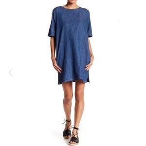 Soprano Short Sleeve Denim Shift Dress Sz Large